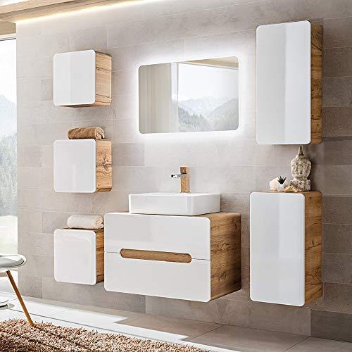 Lomadox Badezimmer Set Hochglanz weiß & Wotaneiche, Waschtischunterschrank mit 50cm Keramik-Waschbecken