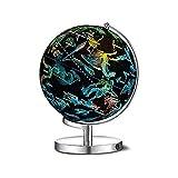 Globo mundial iluminado, globo de constelación con mapa del mundo detallado para niños, astronomía interactiva educativa y mapa geográfico. Tamaño: 32 cm