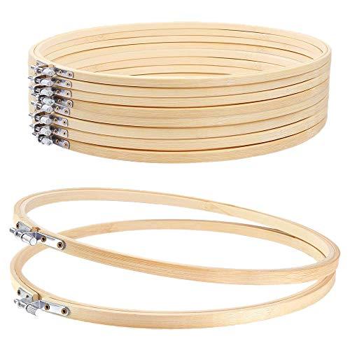 Vaorwne Stickrahmen, rund, verstellbar, Bambus, Kreuzstich, 10 Stück, 20,3 cm, für Kunsthandwerk, praktisches Nähen