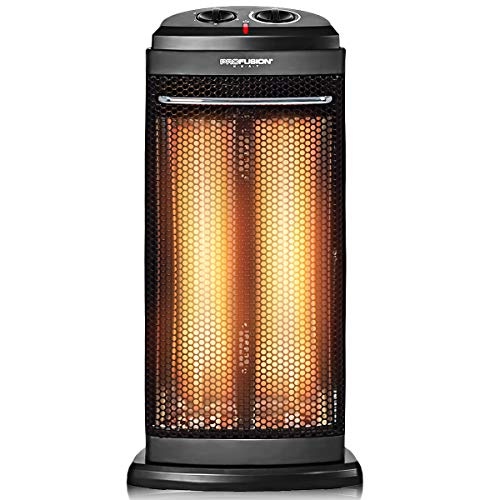 COSTWAY Portable Quartz Heater, 600W/1200W Electric Radiant Tower Space Heater, Overheat & Tip-Over Protection, Fast and Quiet Heating, with Automatic Thermostat, Personal Heater for Office and Home
