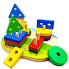 Wooden Educational Toy for Toddlers, Sorting Stacking Toy for Toddlers, Shape Color Recognition Puzzle Stacker, Geometric Board Blocks Stacking Sort, Montessori Toddlers Toy for 1 2 3 4+ Years Old