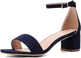 navy block heel sandal