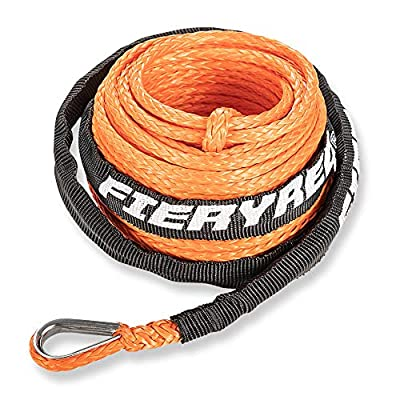 """Synthetic Winch Rope 3/16"""" x 50' - 8200 Ibs Winch Line Cable Rope with Protective Sleeve for 4WD Off Road Vehicle ATV UTV SUV Motorcycle (Orange)"""