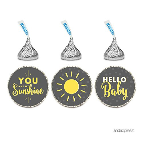 Andaz Press Chocolate Drop Labels Trio, Gender Neutral Baby Shower, You are My Sunshine, Yellow Gray with Printed Gold Glitter, 216-Pack