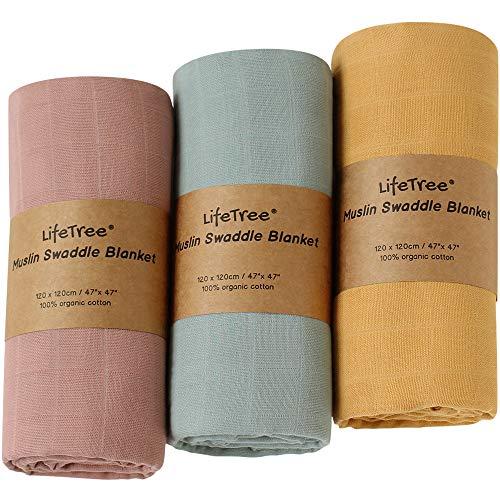 LifeTree Baby Musselin Swaddle Decke Tücher - 3 Stück 120x120cm 100% Bio Baumwolle Baby Pucktücher für Junge und Mädchen
