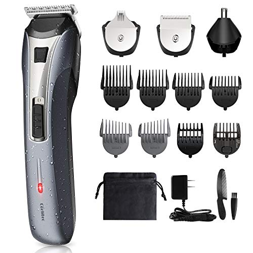 Beard Trimmer for Men-All in 1 Rechargeable Grooming Kit with Large Battery Cordless Multifunctional Hair Clippers Trimmer for Beard, Head, Body, Face, Nose and Ear, IPX6 Waterproof for Easy Cleansing