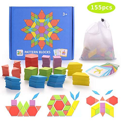 HellDoler Holzpuzzles Geometrische Puzzle 155 Teile Bausteine Montessori Spielzeug Grafische Klassische Pädagogisches Spielzeug mit 24 Design Karten für Kinder Kleinkind