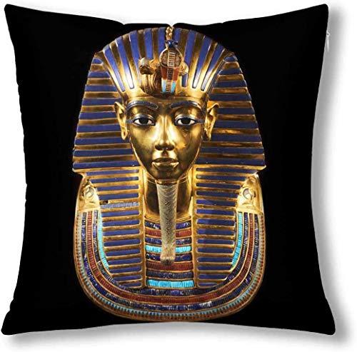 Antiguo Egipto Funeraria Máscara de Tutankamón Cojín Decorativo Funda de Almohada Funda de 18X18 Pulgadas Decoración Cuadrada con Cremallera Funda de Almohada Protector