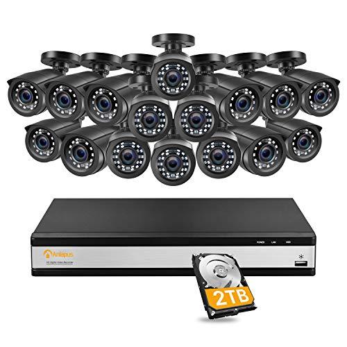 Anlapus 1080P Kit de Cámaras Seguridad 16CH Videograbador DVR con (16) Cámara de Vigilancia Exterior, 2TB Disco Duro, Visión Nocturna, Alarma de Movimiento