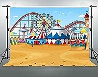 パーティーのためのHD遊園地の背景10x7ftソフトコットンベビーシャワー子供カーニバルパーティーの装飾パーティー用品写真撮影の小道具DSFS419