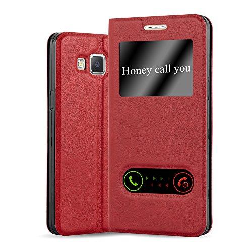 Cadorabo Hülle für Samsung Galaxy A5 2015 in Safran ROT – Handyhülle mit Magnetverschluss, Standfunktion & 2 Sichtfenstern – Hülle Cover Schutzhülle Etui Tasche Book Klapp Style