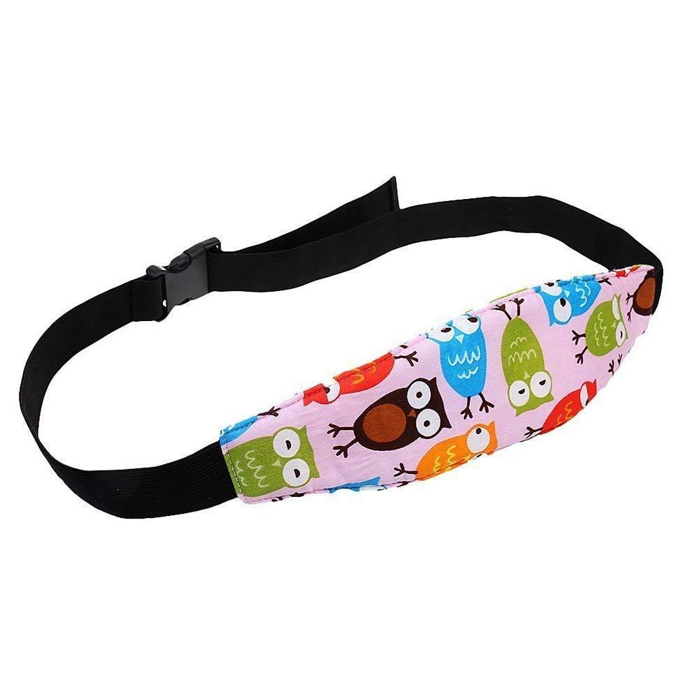 Potelin Baby Car Seat Pad Cushion Head Support Band Pram Stroller Sleep Seat Safety Belt Strap Cartoon Owl Pattern Strap for Kids Pink 1PCS