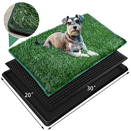 Dog Grass Large Pet Loo Indoor/Outdoor Portable Potty, Artificial Grass Patch Bathroom Mat for Puppy Training, Full System with Trays, Easy to Clean (3-Layered System Tray, 20'x30')