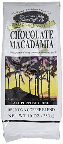 Hawaiian Isles Kona Coffee Co. Kona Chocolate Macadamia Nut Ground Coffee, Medium Roast, 10 ounce bag
