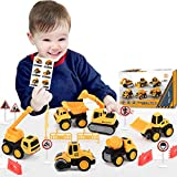Pull Back Construction Vehicle Toys, Pull Back Diecast Cars Toy Construction Trucks for Boys, Small Diecast Construction Vehicles for Kids Gift Ages 3 4 5