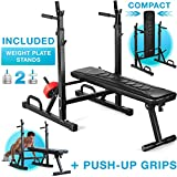 Sportstech Innovative 21in1 weight bench with weight plate stand & push up handles, folding system, training bench BRT300 foldable, anti-slip feet, Eva upholstery & genuine leather look DIP handles