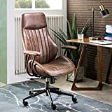 ovios Computer Office Chair,Modern Ergonomic Desk Chair,high Back Suede Fabric Desk Chair with Lumbar Support for Executive or Home Office (Dark Brown-Black)