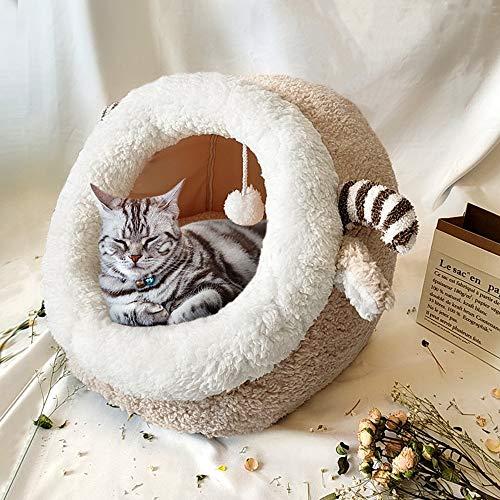 xingxing Bonita cama para gatos de invierno cálida para perros pequeños, gatos y cachorros, con colchón extraíble (color beige, tamaño: S)