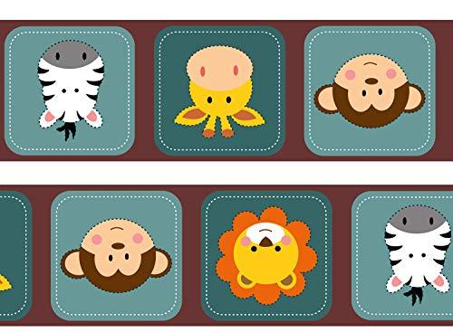 wandmotiv24 Bordüre Kleine Tierfreunde Afrika 260cm Breite - Vlies Borte Tapetenbordüre Bordüren Borde Wandborde Afrika Baby Löwe M0048
