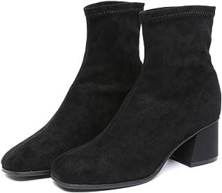 [HR株式会社] レディース ブーツ ミドル丈 太めヒール スクエアトゥ 秋冬 防寒 滑り止め 疲れない サイズ22.0cm-25.0cm