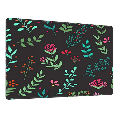 Gaming mouse mat with Non-Slip Rubber Base vector hand drawn leafs seamless pattern cute colorful vector herbal pattern for postcard and poster Mouse Pads for Computers,Laptop,Office&Home-80x30cm