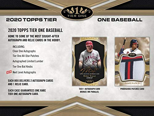 2020 Topps Tier One Baseball Hobby Box (1 Pack/3 Cards: 2 Autos, 1 Relic)