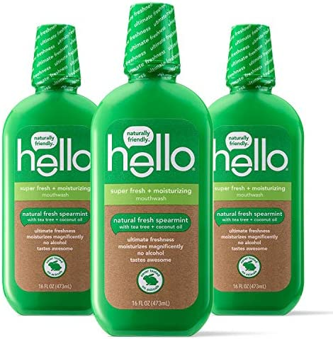 Hello Vegan Alcohol Free Mouthwash Family Farmed Super Fresh Spearmint For Mind Blowing Freshness product image