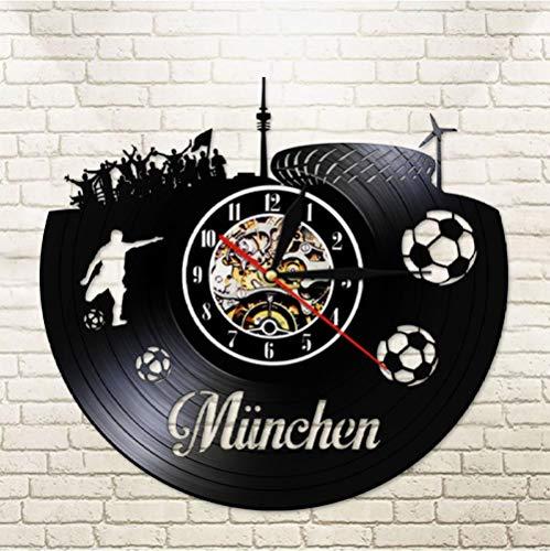 Hopeyard München City Skyline Mute Muur Klok Duitse Staten Voetbalstadion Fans vieringen Champions Wall Art Vinyl Record Horloge