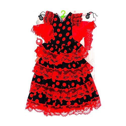Folk Artesanía Vestido, Pendientes, Percha, peinetas y castañuelas Flamenca Andaluza muñeca Nancy clásica de Famosa (Negro Lunar Rojo)