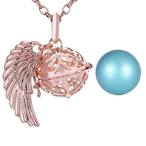 Morella Collar ángel de la Guarda de Acero Inoxidable Oro Rosa 70 cm con Colgante alas de ángel y Bola de resonancia de Color Azul Claro 16 mm para Damas en Bolsa para Joyas