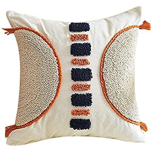 ACCZ Cojín de tejido étnico hecho a mano para decoración del hogar, respaldo bohemio, almohada para sofá, cama, sofá, decoración, suministros textiles para el hogar, almohada étnica, 1,45 x 45 cm