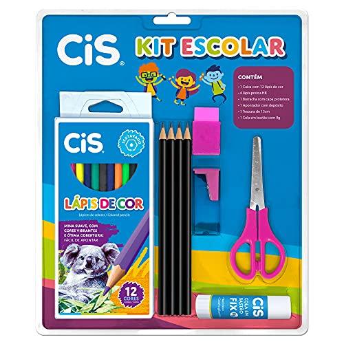 Kit Escolar CIS, 46.3711, 9 Peças Rosa