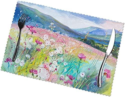 Alfombra de mesa de comedor de estilo de pintura al óleo de montaña y flores, 30,5 x 45,7 cm, diseño único, juego de 6 para boda