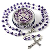 HanlinCC 6mm Purple Color Glass Pearl Prayer Beads First Communion Rosary with Chalice Center Piece and Crucifix in Anti-Silver Plated for Girl Pack in Holy Cup Metal Gift Box (Purple)