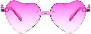 TPTPMAY - YaLuoUK - Gafas de sol con forma de corazón multicolor con montura sin montura y lentes transparentes de colores para niños, color rosa
