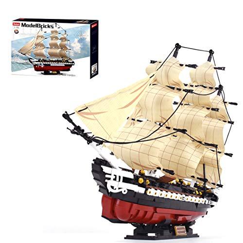 OviTop 1: 170 Verfassung Segel Fregatte Bausteine Schiffsmodell, Kompatibel mit Lego Piratenschiff Segelschiff...