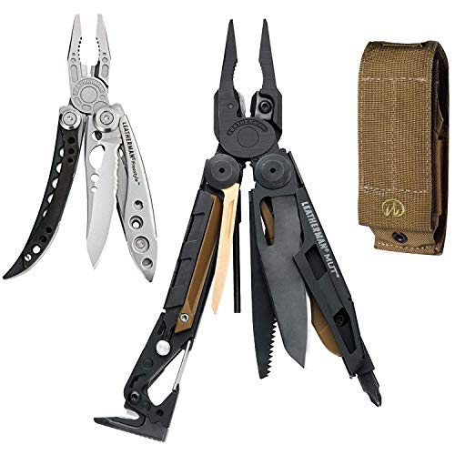 LEATHERMAN - MUT Multitool with Premium Replaceable Wire Cutters and Firearm Tools, with MOLLE Sheath (Black, Brown Sheath)