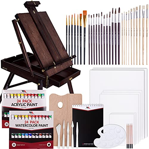 WA Portman 99 Piece Mahogany Easel Set - Complete Painting Supplies with Acrylic & Watercolor Paint - Art Supplies for Adults & Kids - Paint Easel Art Set - Art Easel for Adults & Children