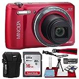 Minolta MN12Z 20 Mega Pixels HD Digital Camera w/12x Optical Zoom (Red) + 16BG + Case + Strap Accessories Bundle