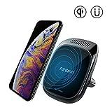 Nillkin 3-in-1 Qiワイヤレス充電パッドとSamsungNote 9/8 / S10 / S9 / S8 Plus、iPhone Xs Max / XS / XR / X / 8 / 8Plusなどのアロマディフューザー付き磁気カーマウントエアベントホルダー- ブラック