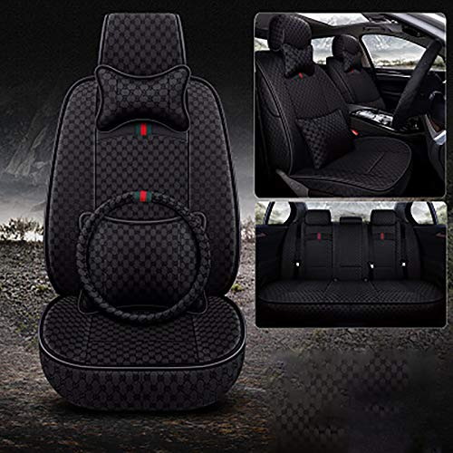 JJYY Car Seat Cushion, Four Seasons Car Seat Cover PU Leather Cars Seat Cushion Automobiles Seat Protector Universal Car Chair Pad Mat Auto Accessories (For Five-Seater Cars),Black