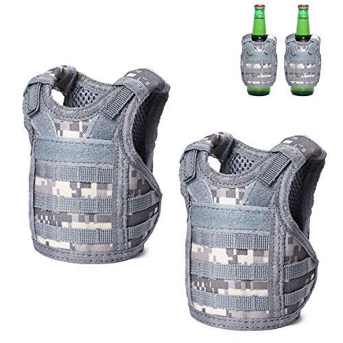Tactical Beer Vests Beverage Cooler Military Beverage Holder for 12oz or 16oz Cans or Bottles with Adjustable Shoulder Straps (2 Pack ACU)