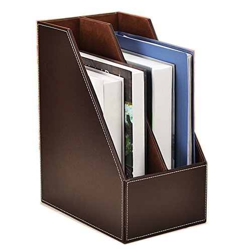 Vertical Style,Leather Magazine Holder Office Desk Organizer File Document Tray Box Bookends Book Stand (Coffee (2 Slot))