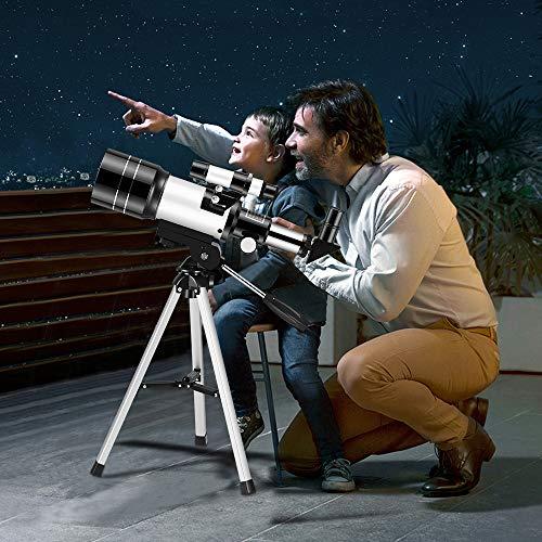TTLIFE Teleskop Luxuspaket für Kinder Beobachtung Anfänger 150X 70mm HD Portable Fernrohr Teleskop für Astronomie Erwachsene Mond Stadtlandschaft Wildtiere,mit Verstellbares Stativ Rucksack (Weiß1)