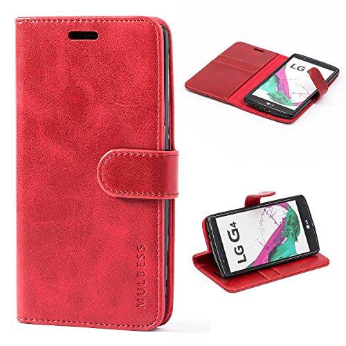 Mulbess Handyhülle für LG G4 Hülle Leder, LG G4 Handy Hüllen, Vintage Flip Handytasche Schutzhülle für LG G4 Hülle, Wein Rot