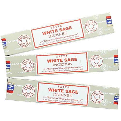 Satya Nag Champa, Räucherstäbchen, weißer Salbei, 3er-Packung Originalverpackung