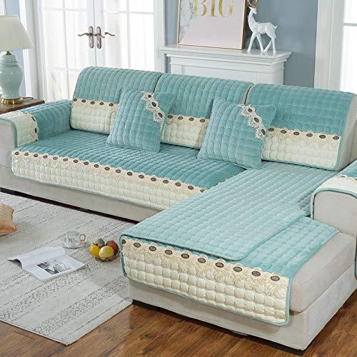 Suuki Protector de sofá seccional a Juego de Colores, Funda de sofá de Terciopelo súper Suave, Fundas de sofá de Felpa de Tienda de Invierno, Funda de sofá Modular-Verde_Los 90 * 210cm