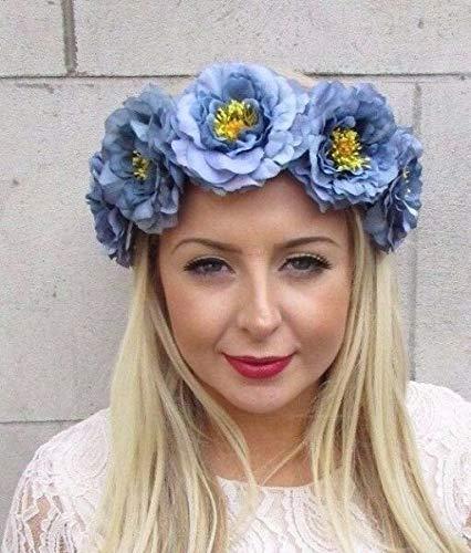 TANAMI Store Hair Accessories Supplies for Large Slate Dusty Blue Flower Garland Headband Hair Crown Rose Festival VTG 4203 Hair Gift for Women Girls.