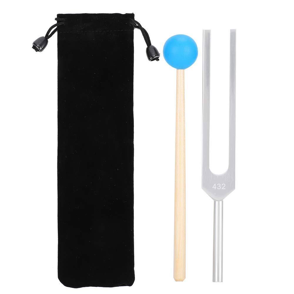 432HZ Tenedor de afinación con martillo de madera Instrumento musical para curación, chakra, terapia de sonido
