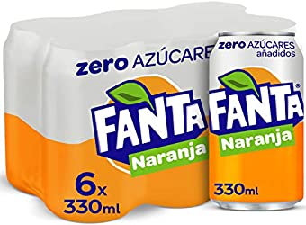 Fanta Naranja Zero Azúcares - Refresco con 7% de zumo de Naranja, zero azúcares añadidos - Pack 6 la